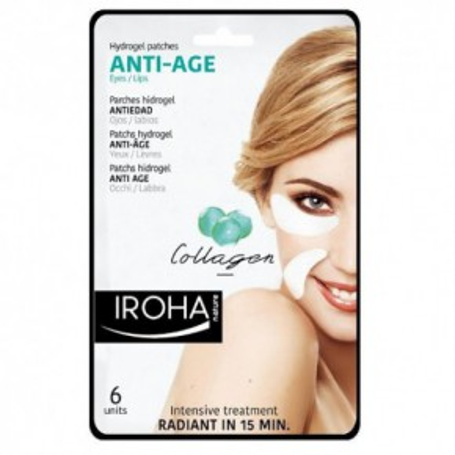 IROHA Eye Pads Antiage collagen Eye & Lips Hidrogēla maska ādai ap acīm un lūpām 6vnt